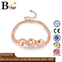 dubai 925 sterling silver jewelry micro pave setting rose gold infinity christian bracelet on alibaba express