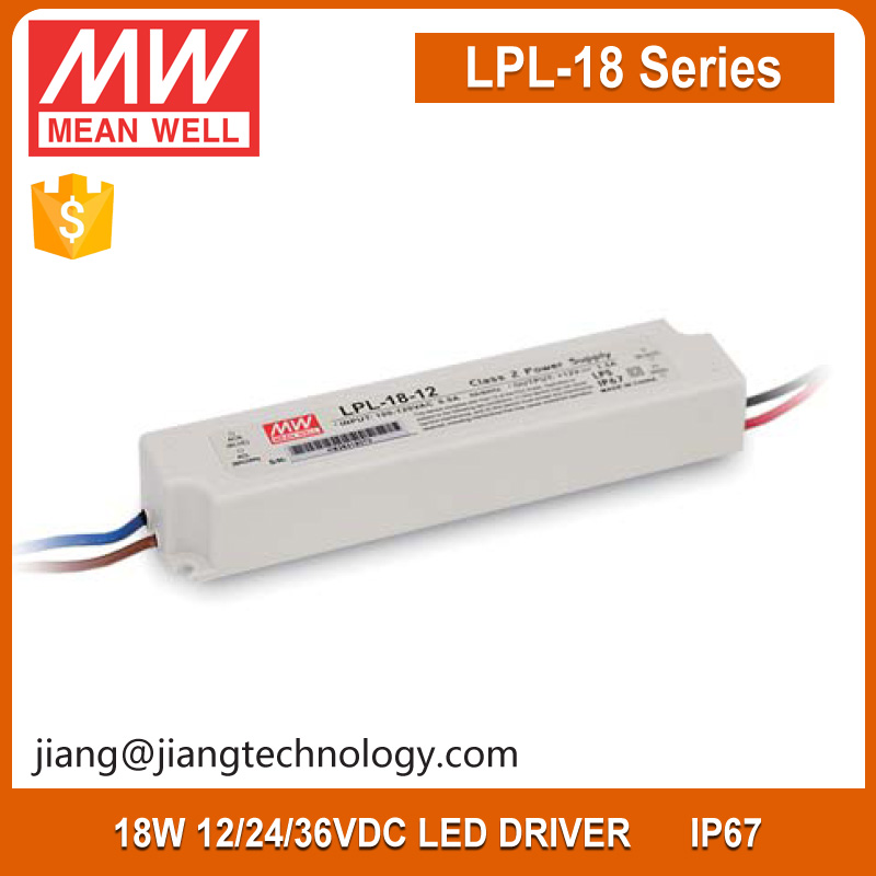 Meanwell 18W Single Output Switching Power Supply 36V 0.5A Constant Voltage IP67 LPL-18-36
