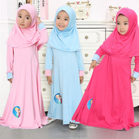 girl stylish pink red blue muslim dress with headwear/ blue purple girl muslim dress with hijab/Girl muslim dress and headwear