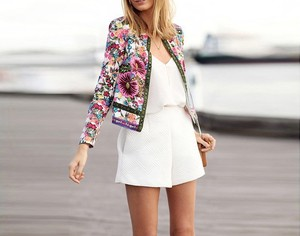 ZH0393A Wholesale classic women flower printed bomber jacket