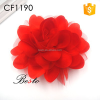 Factory handmade red women flower fabric brooches