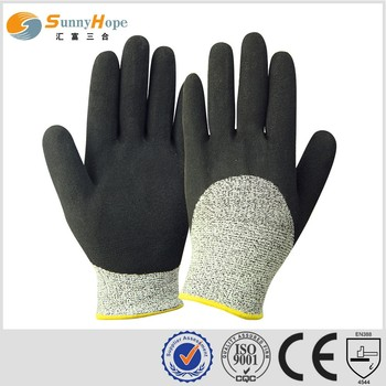 13G HPPE Latex sandy coated HPPE cutting gloves safety protection gloves