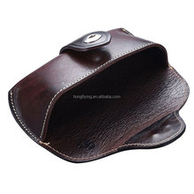 luxury brown custom flip genuine leather reading glasses case