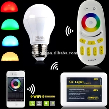 hot selling Wireless Color/Brightness/Temperature Dimmable Adjustable 2.4G AC86 265V E27 6W wifi milight RGBW wifi bulb Lamp
