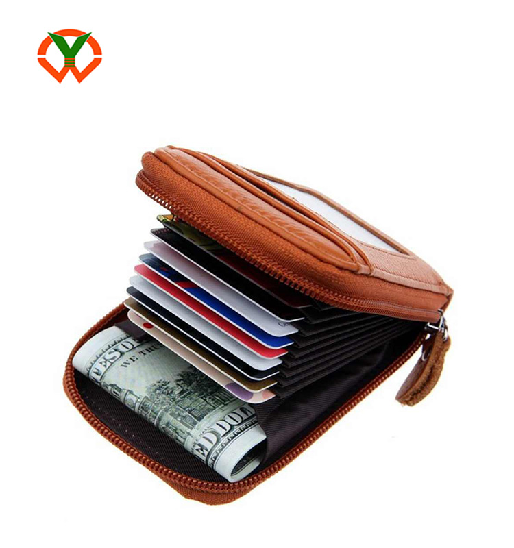 Shenzhen credit card holder factory high quality stylish brown leather wallet for men