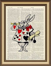 Alice in Wonderland Rabbit Dictionary wall Art Print Poster printable Canvas painting Pictures for Home Decor Vintage Book Print