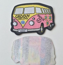 Cartoon Bus Woven Patch/Label With Pellon Backing