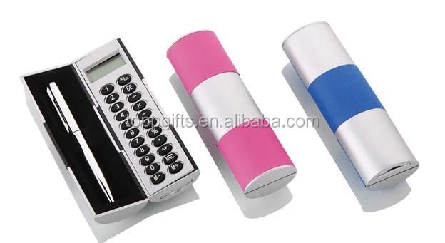 Promotional metal/plastic pen pencil case with calculator