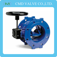 Ductile Iron Double Flanged Eccentric Type EPDM Seat Butterfly Valve with gear box and handwheel to BS EN 593