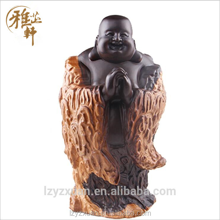 2017 New brand black sandalwood engraving praying buddha statue