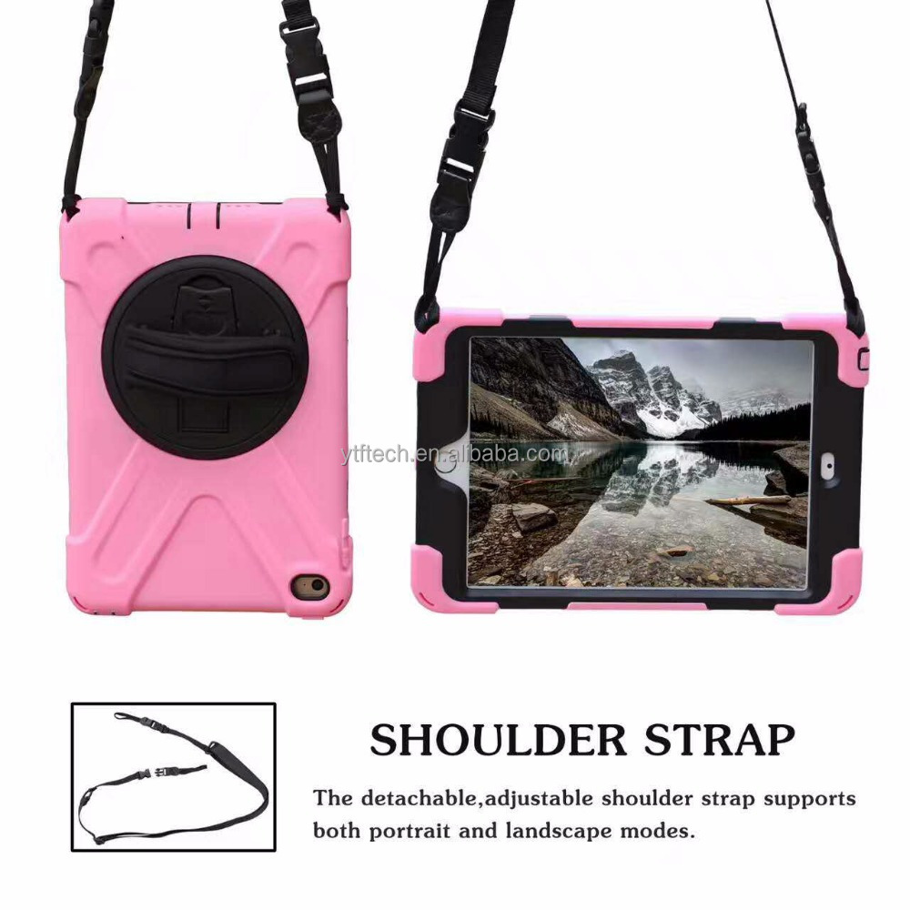Outside using 360 Rotating PC + Silicone Kickstand with strap protect cover for Ipad mini 5