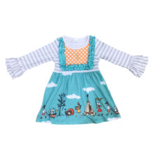 Hot sale Thanksgiving Children's Wear Light Blue Bottom <strong>Girl</strong> Long Sleeve Ruffle <strong>Dress</strong>