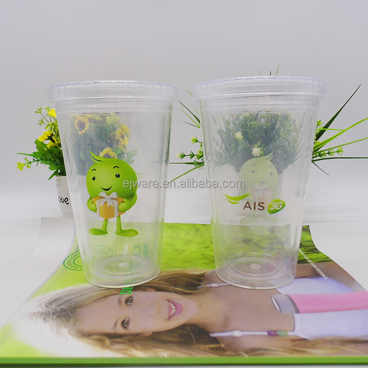 BPA free straight cheap plastic tumbler with straw and paper insert DIY