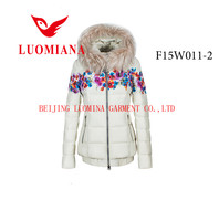 2015 latest real fur fashion apparel flower printed winter jacket for young women