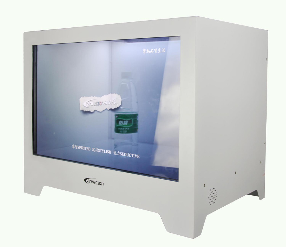 "22"" LCD transparent advertising display box , flexible transparent lcd display"
