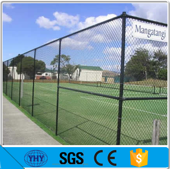 green pvc coating chain link basketball court fence, diamond hole wire mesh sports court fence