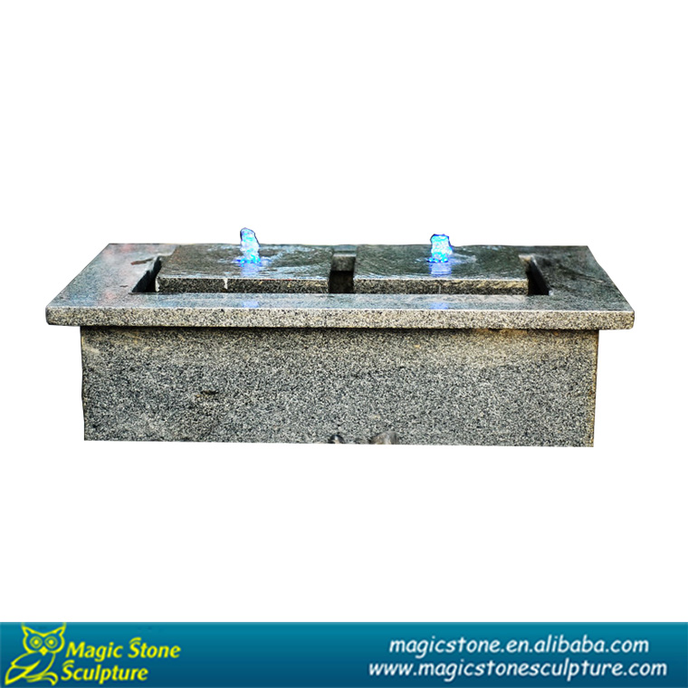 Square outdoor water fountains with LED light