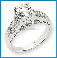 Newest 14k white gold high polished AA diamond semi-mount ring