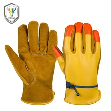 Wholesale yellow PU back split cowhide leather <strong>safety</strong> working gloves