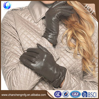 2016 plain style women's fur lined grey sheepskin leather smart gloves