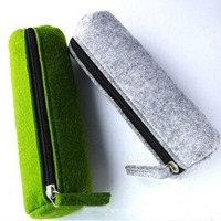 Korea Felt Round Zipper Cheap School Pencil Pouch