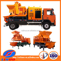 Linuo V8 automatic truck-mounted forced Concrete Mixer Pump with diesel generator