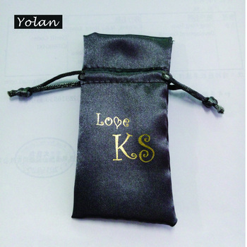 Grey Satin bag with Logo gold Stamping