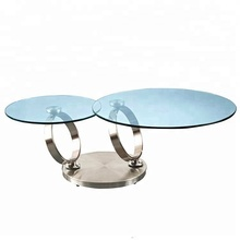 Living Room modern Tempered Glass stainless steel 360 movable round glass center coffee table