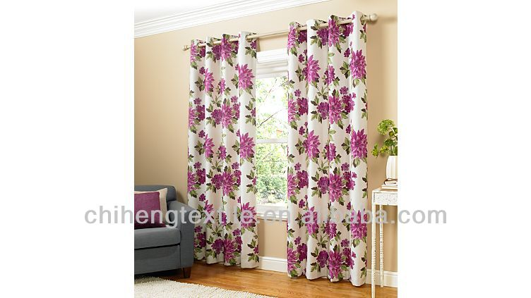 blackout floral printed eyelet curtain