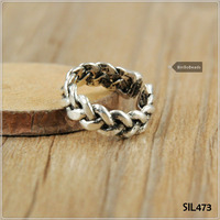 Titanium with Sterling Silver 7 Strands Hand Braided Ring Band, For His and Her SIL473