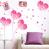 removable living room bedroom TV background pink flower weddings bedroom decoration wall sticker