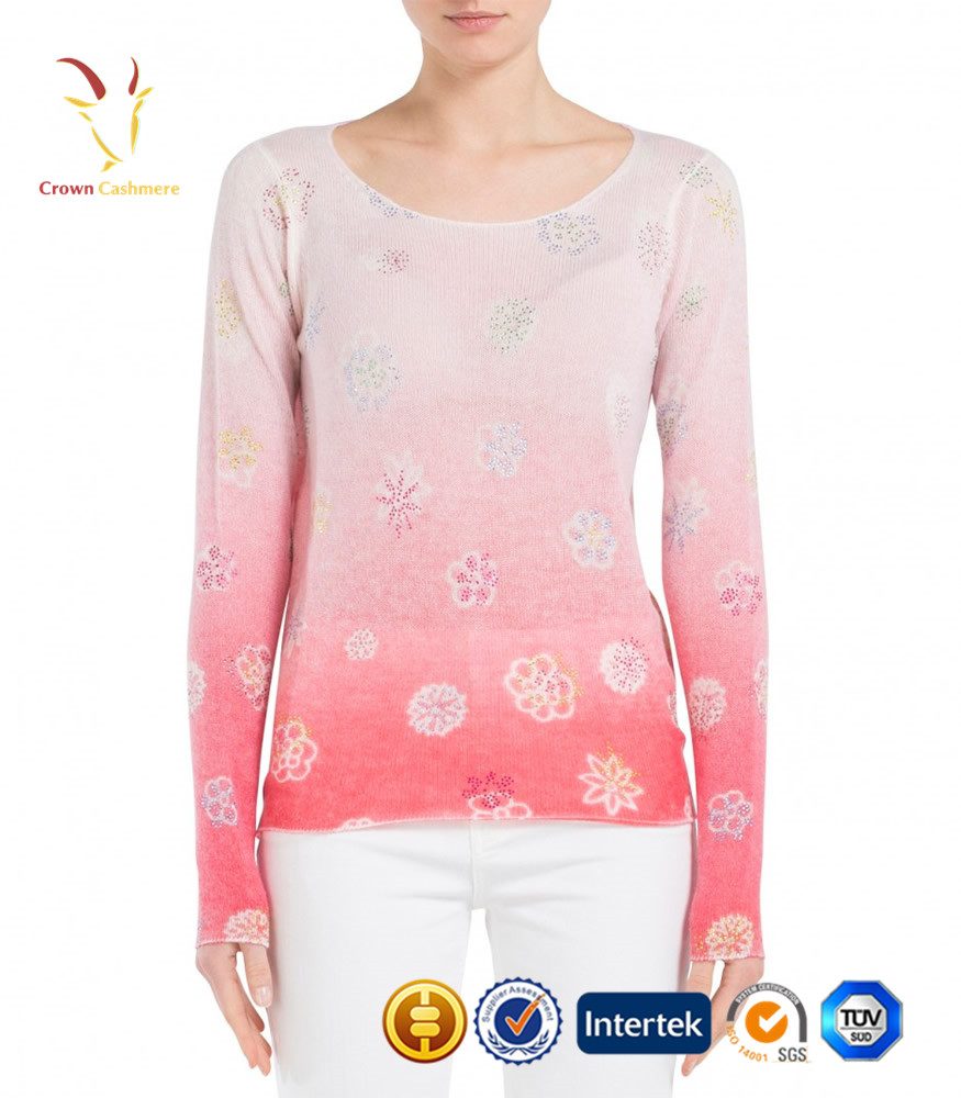 Fashion cashmere flower knit sweater for girls