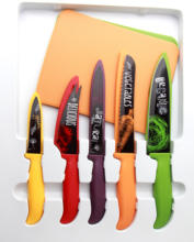 5 piece coloured ceramic handle chef bread fruit kitchen knife set with block