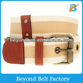 Beyond Lady Single Pin Buckle Striped Canvas Jeans Waist Belt with Leather Tab