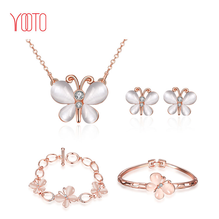 Pink opal butterfly shape rose gold jewelry set supply
