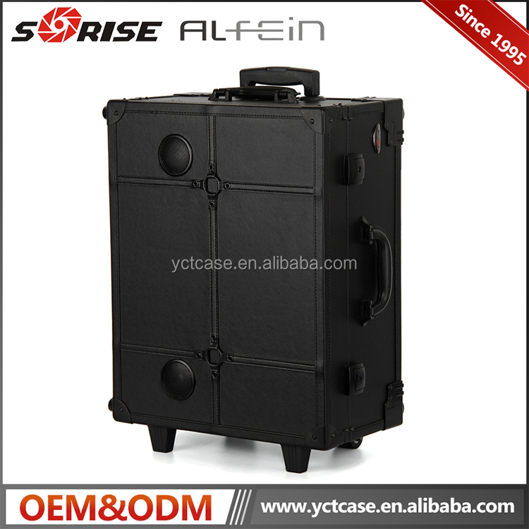 Professional wholesale rolling makeup case with lights and stand