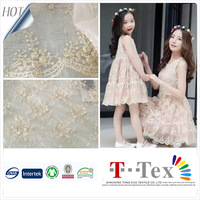 champagne transparent embroidered tulle fabric african italian dubai baby lace fabric for dress