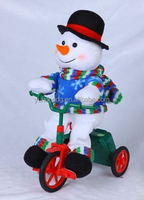 singing snowman in tricycle