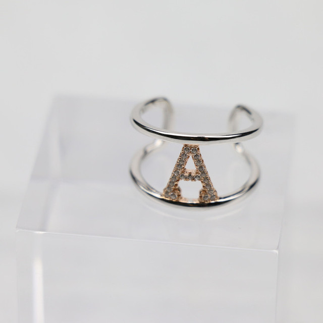Elegant Style 925 sterling silver Custom Letter Initial Alphabet A Two Tone Plating Ring