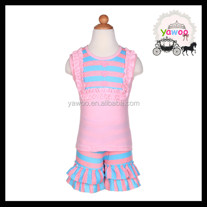 Pink bibs sleeveless top stripe ruffle shorts lovely girls summer outfits children clothes girls baby wholesale clothing karachi