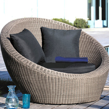 luxury outdoor wicker furniture hotel round rattan sunbed sun lounger