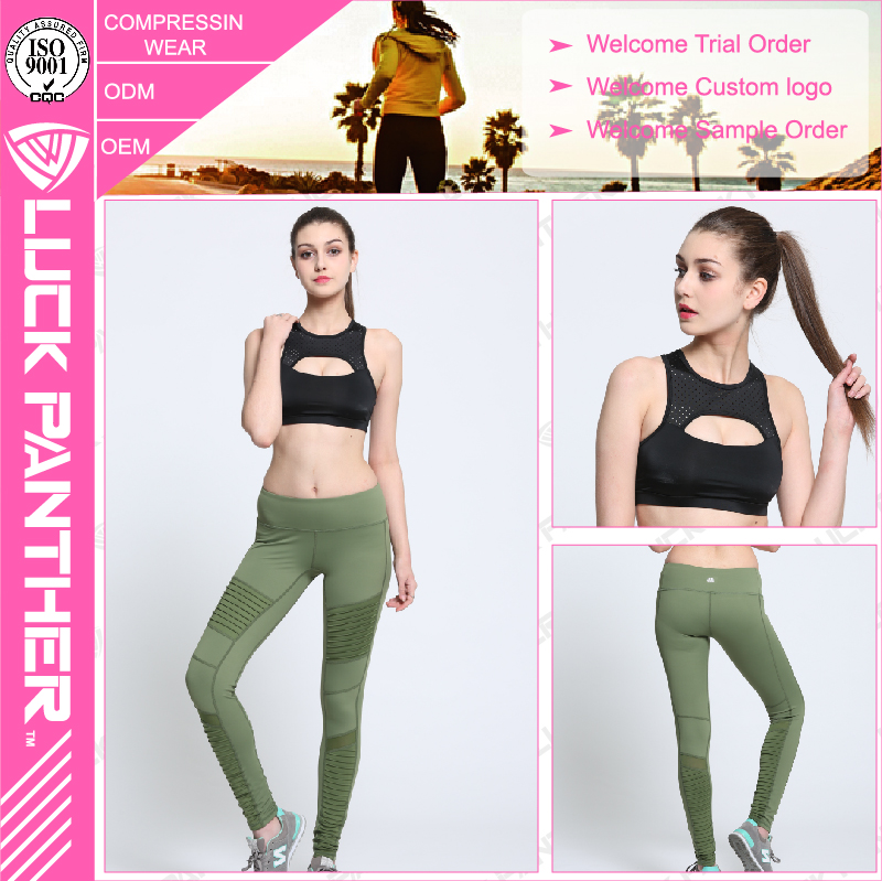 OEM factory panther clothing (Trade Assurance)Activewear Sports Black Mesh Leggings high wasit women workout leggings
