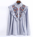 China clothing fashion women vertical striped pleated flower women embroidered shirts