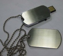 Top selling usb 2.0 metal dog tag necklace usb flash drives with logo