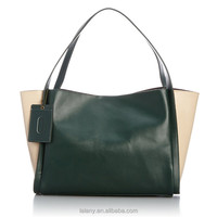 Lelany brand cheap ladies colorful handbags with colorful leather tirms