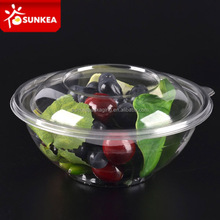 Disposable clear plastic transparent salad bowl with lid