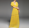 new women dress summer autumn fashion Deep V-neck Ruffles short sleeve floor length maxi dress