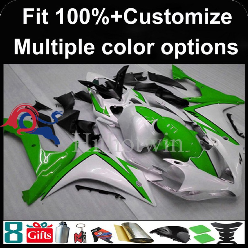 Injection mold green white motorcycle cowl for Yamaha YZF-<strong>R1</strong> 2007-2008 07 <strong>08</strong> YZFR1 2007 2008 07-<strong>08</strong> ABS Plastic <strong>Fairing</strong>