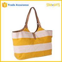 Custom New 2016 Hot Selling Summer Stylish Stripe Canvas Beach Tote Bag