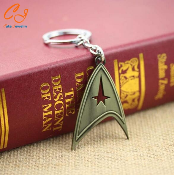 Movie Star Trek keychain quality alloy plating metal key chain 2 colors for men and women Star Trek Into Darkness